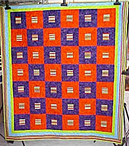 Throw Quilt Orange Purple Mexican Hats Maracas 67 x 76 (Image1)