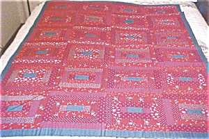 Lap Quilt Red & Blue Vintage Log Cabin Country (Image1)