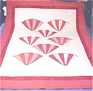 Throw Lap Quilt Wall Hanging Red White Grandmas Fans (Image1)