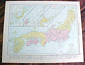 Antique Map Japan Persia Afghanistan 1912 (Image1)