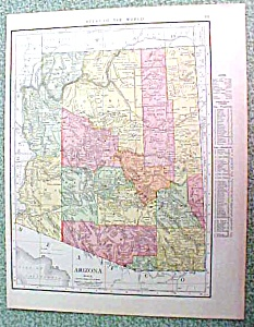 Antique Map Arizona 1916 Rand McNally Nice Colors (Image1)