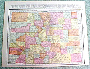 Antique Map Colorado 1916 Rand McNally Nice Colors (Image1)