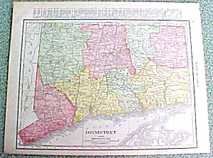 Antique Map Connecticut 1916 Rand McNally Nice Colors (Image1)