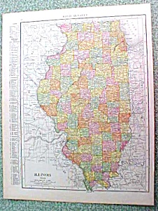 Antique Map Illinois 1916 Rand McNally Nice Colors (Image1)