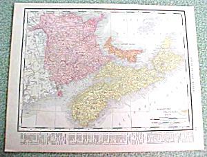 Antique Map Nova Scotia PEI Quebec 1916 Rand McNally (Image1)