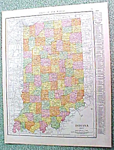 Antique Map Indiana 1916 Rand McNally Nice Colors (Image1)