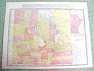 Antique Map Manitoba Ontario 1916 Rand McNally (Image1)