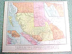 Antique Map British Columbia South America 1916 (Image1)
