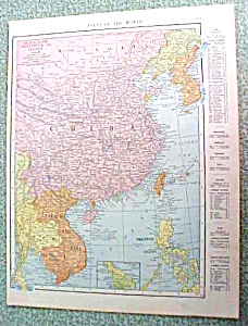 Antique Map China Japan 1916 Rand McNally (Image1)