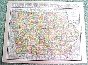 Antique Map Iowa 1916 Rand McNally Nice Colors (Image1)