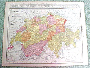 Antique Map Switzerland Denmark 1916 Rand McNally (Image1)