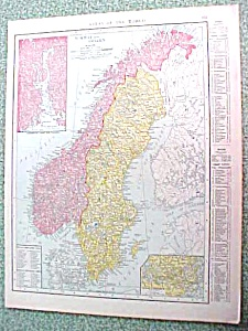 Antique Map Norway Sweden Russia 1916 Rand McNally (Image1)