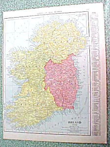 Antique Map Ireland Spain 1916 Rand McNally (Image1)
