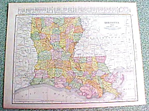 Antique Map Louisiana 1916 Rand McNally Nice Colors (Image1)