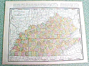 Antique Map Kentucky Tennessee 1916 Rand McNally (Image1)