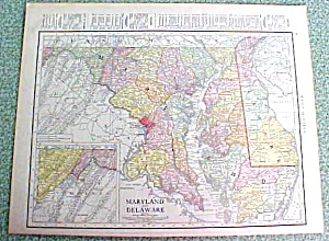 Antique Map Maryland Delaware 1916 Rand McNally (Image1)