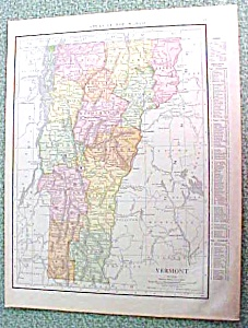 Antique Map Vermont 1916 Rand McNally (Image1)