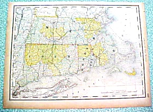 Antique Map New York Massachusettes Rhode Is Conn 1890 (Image1)