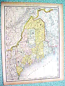 Antique Map Maine New Hampshire Vermont 1890 Rand McNal (Image1)
