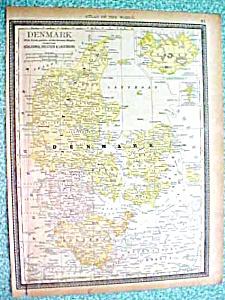 Antique Map Denmark 1890 Rand McNally (Image1)