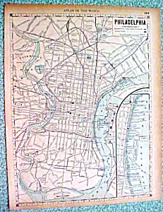 Antique Map Philadelphia New York City Brooklyn 1890 Paper and