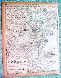 Antique Map Boston & Pyramids At Giza 1890 Rand McNally (Image1)