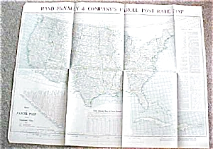 Map Us Postal Rates 1912 Large Foldout