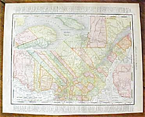 Antique Map Quebec Ontario 1912