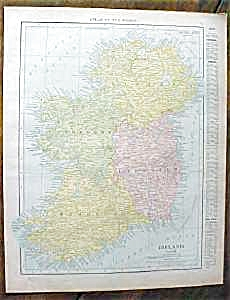 Antique Map Ireland Spain 1912
