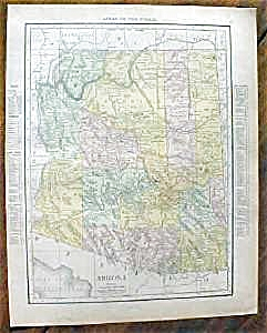 Antique Map Arizona Nevada 1912 Rand McNally (Image1)