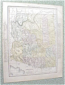 Antique Map Arizona Nevada 1912 Antique