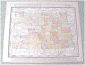 Map North Dakota South Dakota 1912 Antique