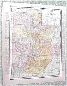 Map Utah Wyoming 1912 Antique (Image1)