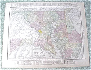Map Maryland Delaware Baltimore 1912 Antique