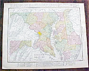 Antique Map Maryland Delaware & Baltimore 1912