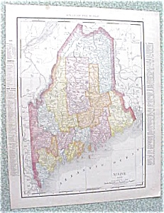 Map Maine New Hampshire 1912 Antique