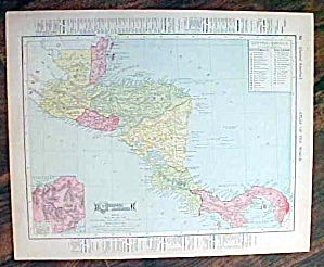 Antique Map Mexico & Central America 1907 Rand McNally (Image1)