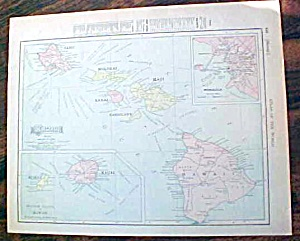 Antique Map Hawaii & New Zealand Figi 1907 (Image1)
