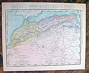 Antique Map Egypt & Algeria, Tunis 1907