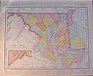 Antique Map Maryland & Baltimore 1907 Delaware Rand (Image1)