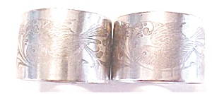 Silver Plated Napkin Rings Victorian Birds Flowers 2 PC (Image1)