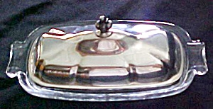 Silver Plated Covered Butter Dish Glass Base (Image1)