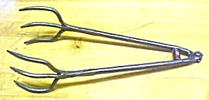 Beef Steak Tongs Hand Forged Iron 1800's (Image1)