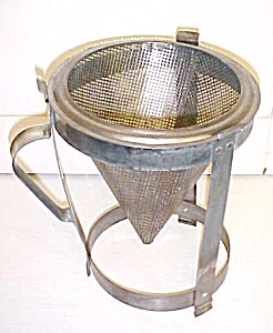 Antique Sieve Strainer Kitchen Canning w/ Holder Stand (Image1)