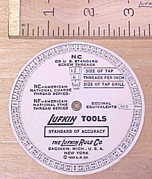 Lufkin Round Screw Thread Calculator 1935