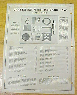 Craftsman Model 466 Band Saw Instructions Parts List (Image1)