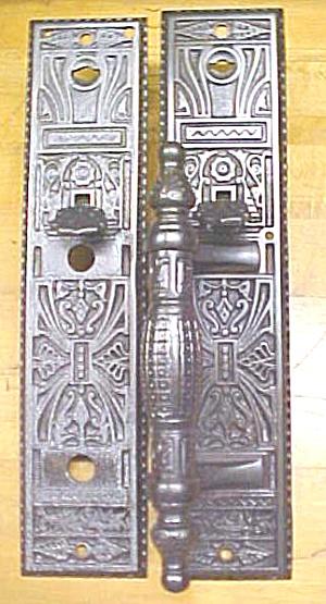Ornate Door Plate Set Antique Store Handle Cast Iron (Image1)