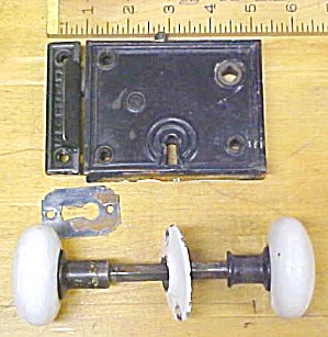 Antique Passage Door Lock Set Flush Mount Metalware Cast