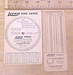 Lufkin Screw Thread Calculator 1935 On A Card