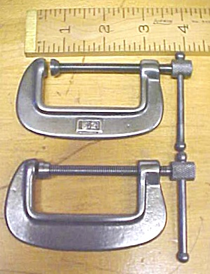 Vintage Machinist C Clamps Pair 2 Inch Mini Size
